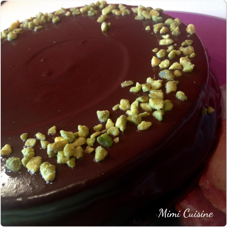 Gateau chocolat et creme de pistache
