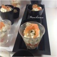 Verrines de tiramisu au saumon mousse de mascarpone