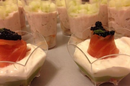 Verrines avocat surimi saumon aneth