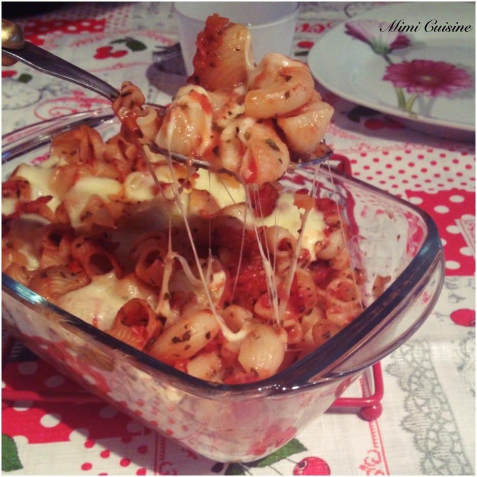 Gratin de pâtes tomates Mozzarella