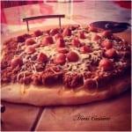 Pizza bolognaise knacki râpé Recette Thermomix