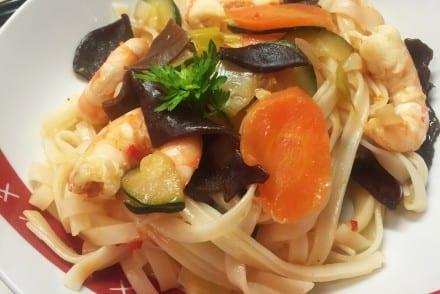 Wok de crevettes et sa sauce aigre douce Lesieur