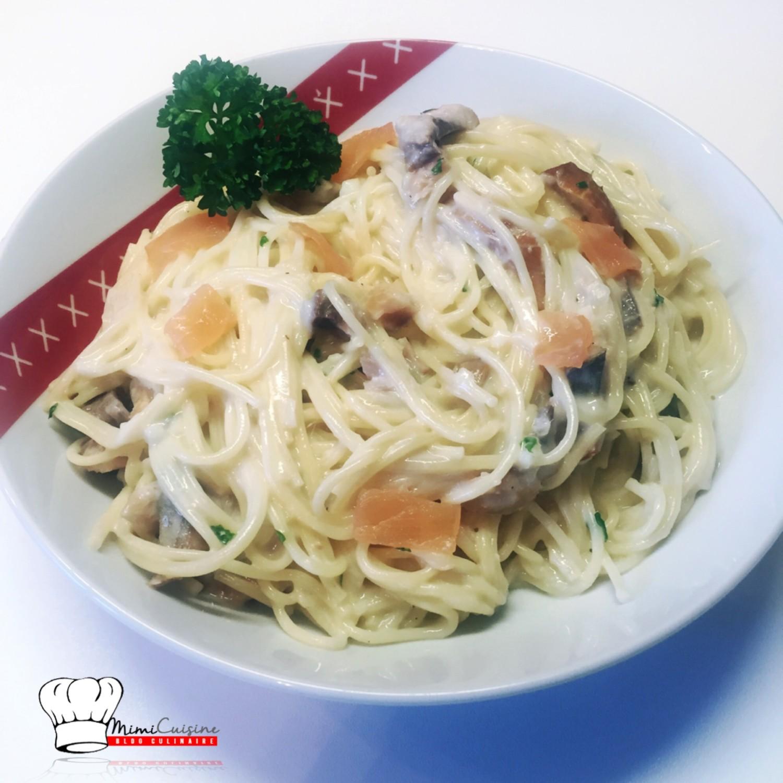 spaghetti hareng et saumon recette cookeo mimi cuisine. Black Bedroom Furniture Sets. Home Design Ideas