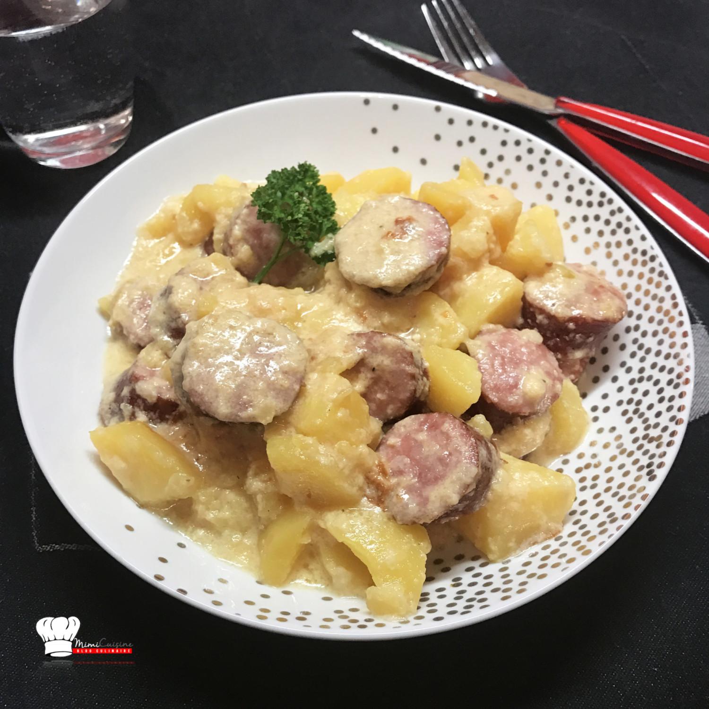 saucisses pomme de terre tartiflette recette cookeo mimi cuisine