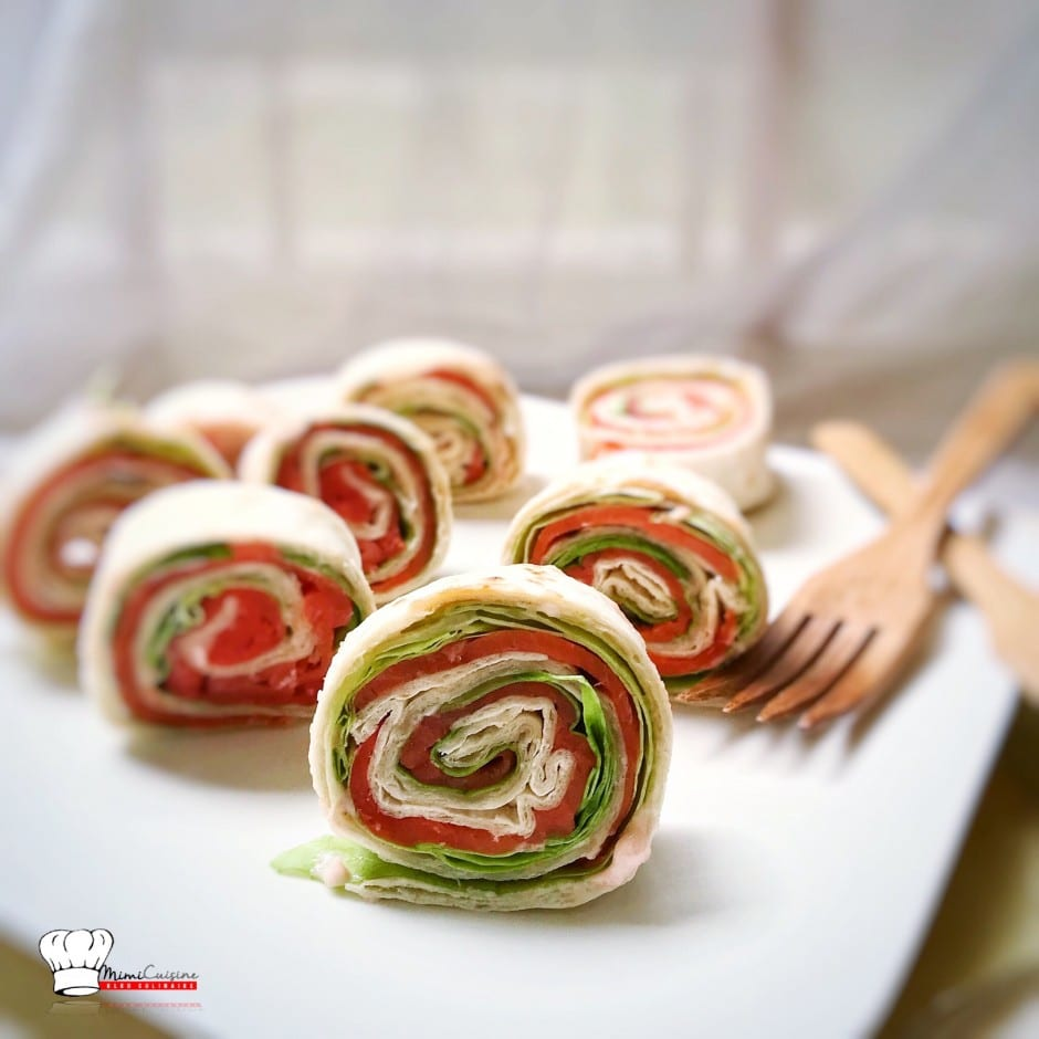 Wrap ap ritif saumon tarama salade verte mimi cuisine - Aperitif dinatoire vegetarien ...
