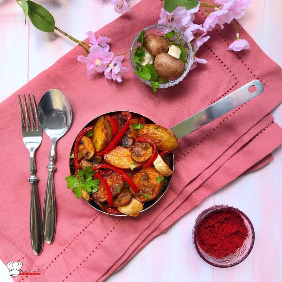 Poêlée pommes de terre primeurs champignons et poivrons