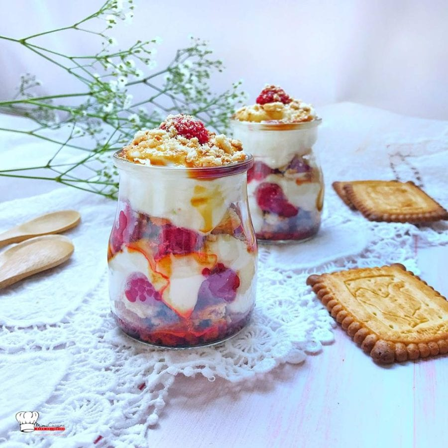 Verrines Framboises Caramel et Crème Citron Mascarpone