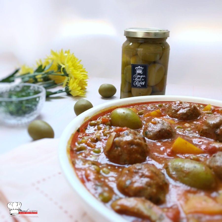 Boulettes de bœuf aux poivrons et olives vertes