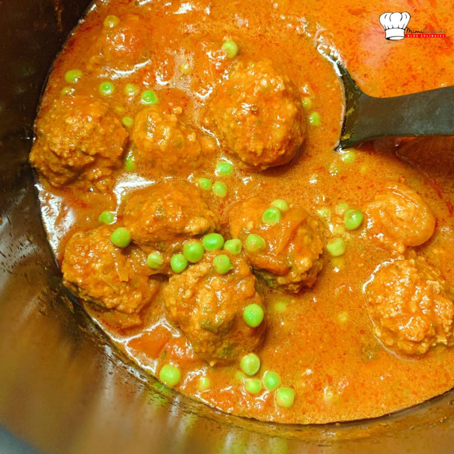 Boulettes de viande et petits pois au Cookeo